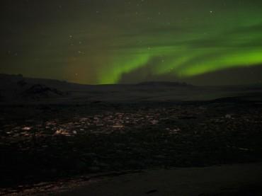 Nordlichter über der Gletscherlagune