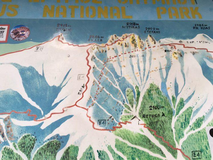 Übersicht über Gipfelkette des Olymp-Massivs