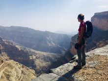 Am Ende des Klettersteigs am Jebel Shams