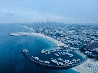 Blick vom Burj al Arab zum Burj Khalifa