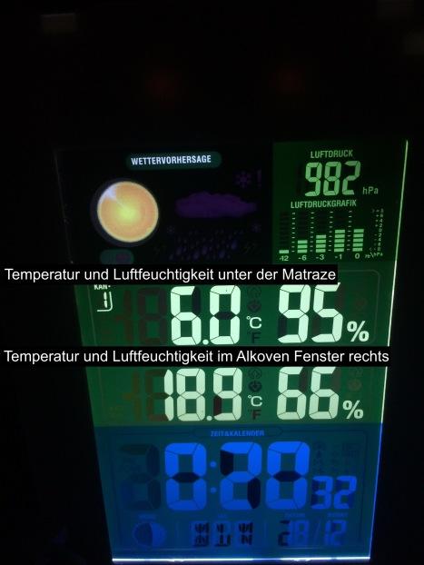 Der Temperaturunterschied im Alkoven unter und über der Matratze