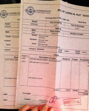 Die Bill of Lading (B/L) für die Fähre Alat - Aqtau