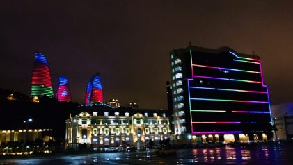 Blick von unserem Stellplatz an der Waterfront, Baku