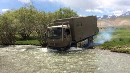 Flussdurchfahrt beim Verlassen des Stellplatzes