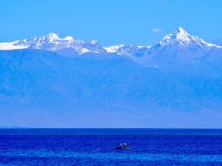 Fischer vor der Kungej-Alatau-Gebirgskette