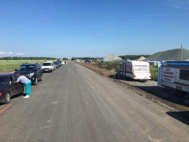 nach Grenzübergang Issilkul - Roslavka auf der russischen Seite