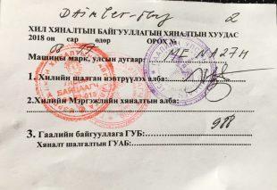 Laufzettel Grenze Mongolei: alle Stempel und Unterschriften sind gesammelt