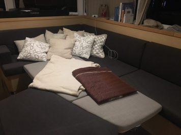 Schlafplatz im Salon während der Passage