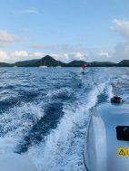 Ausprobieren des Kiteboards: Wasserski (Nicole)