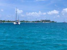 Blick auf den Pebbles Beach mit dem Hilton Hotel rechts. Barbados soll das Mallorca für Briten sein :)