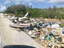 So sieht es leider auch teilweise auf Curaçao aus, obwohl es sehr viele große Mülltonnen gibt.